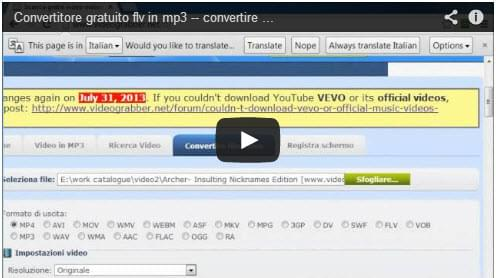 Convertire FLV in MP3
