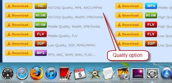 Choose video quality