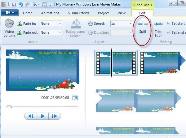 cut video with live movie maker