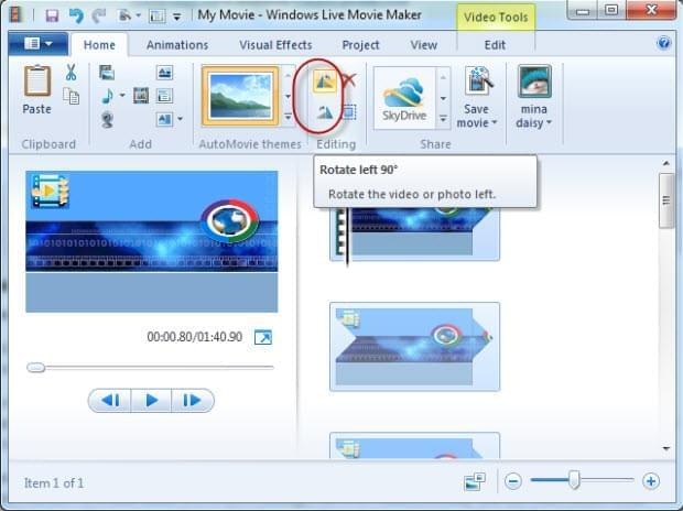 Rotate with windows movie maker