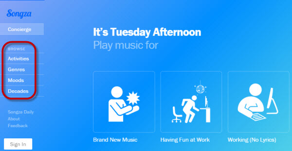songza interface
