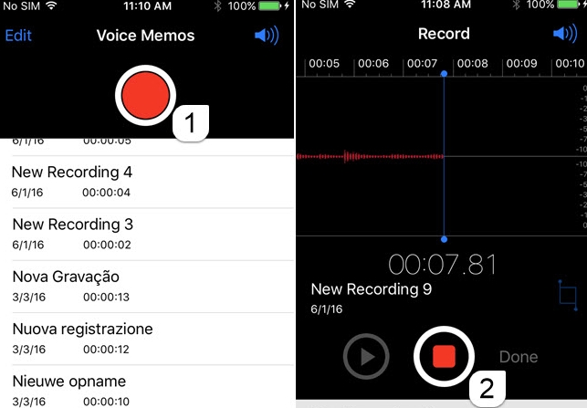 Record, pause voice recording