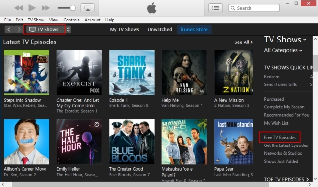 free TV shows on iTunes
