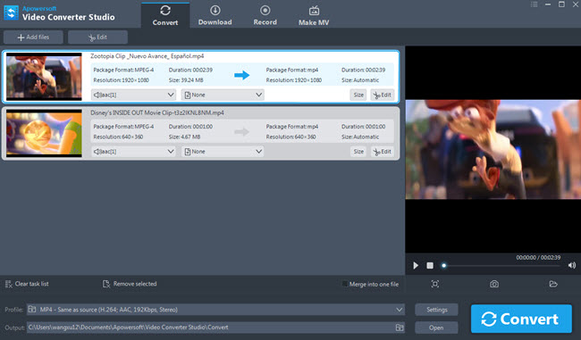 video converter studio interface
