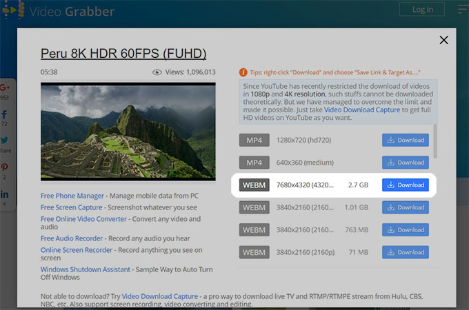 Video Grabber 8k downloader