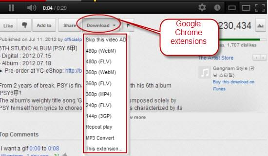 video da youtube estensione chrome