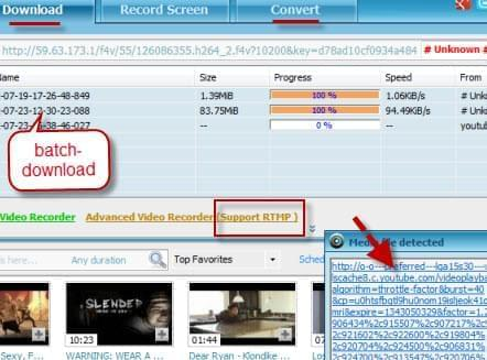 Video Download Capture functions