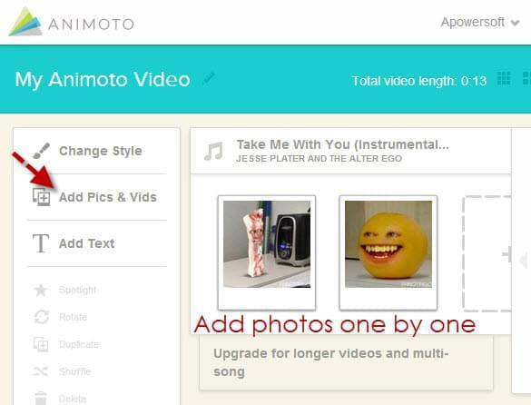 Animoto - add logo