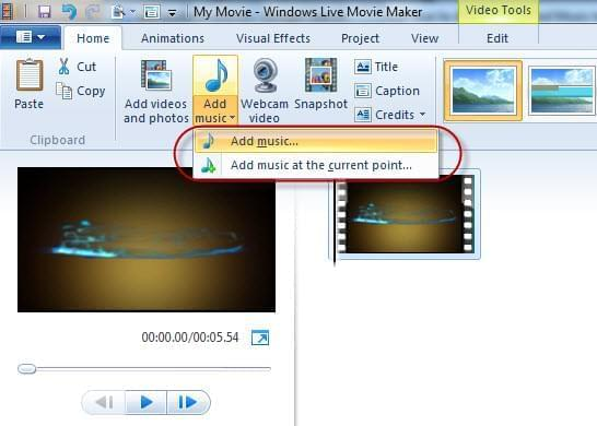 Add audio with moviemaker