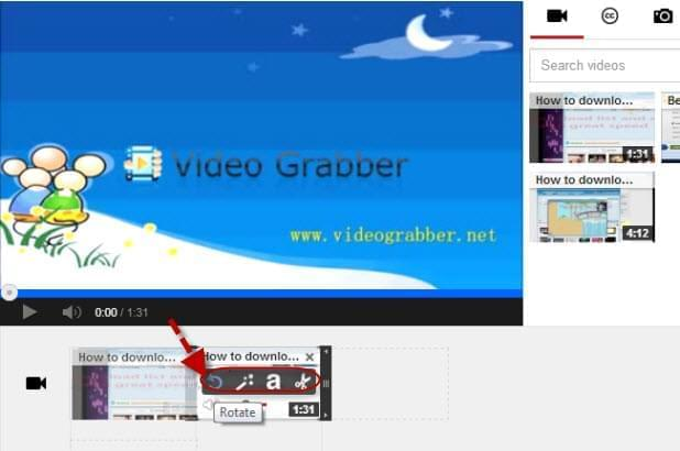 How to rotate youtube video youtube video rotate to do the youtube video rotate log in with your e mail and password drag the video that you wish to edit on the editing area then hover your mouse to it ccuart Image collections