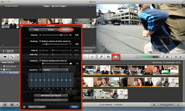 boost audio level iMovie