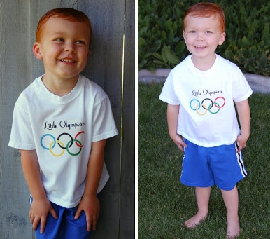 Little child wears Olympic shirt