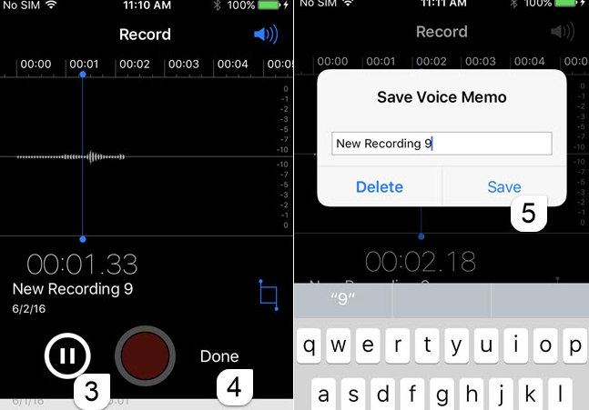 Preview and save voice memo