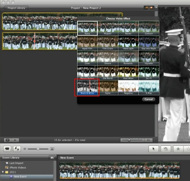 black and white iMovie