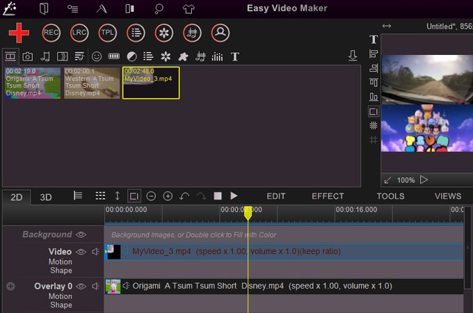 make split screen video with easy video maker