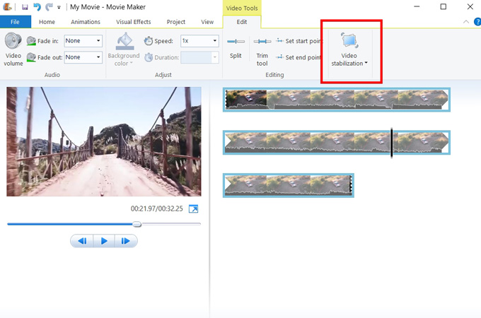 stabilize videos with windows movie maker